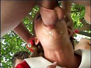 SLUT IN WHITE PLATFORMS GANGBANG