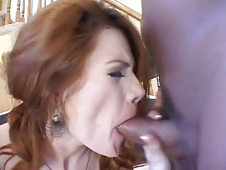 Crazy redhead hard DP & swallow