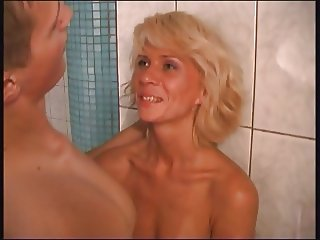 RUSSIAN MOM  14 blonde matre with a young guy