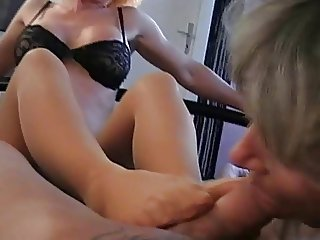 Footjob and fucking in stockings
