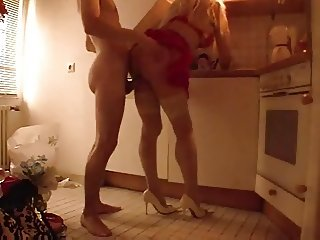 Hot Leggy Cougar in Stockings and Heels Banged in Kitchen