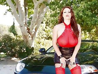Natural Busty Eva - Black Car Outdoor