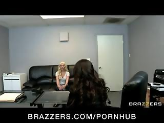 Busty young blonde babe in hot lesbian action with a fake casting agent