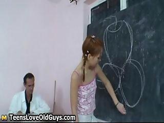 Horny old teacher spanks his cute part5