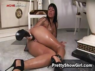 Busty slut working on a huge dildo part6