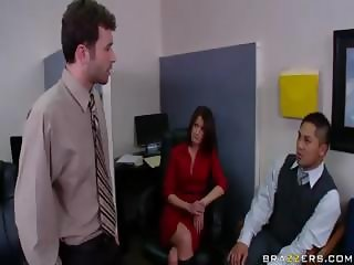 Brunette secretary blows his rod and then gets both holes banged