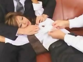 Petite Asian secretary Hotaru Akane gets a censored fingering and fuck