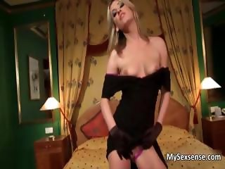 Cute blonde chick strips and loves part2