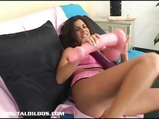 Michelle fills her pussy with giant dildos