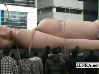 Weird bizarre giant naked Japanese woman toy insertion