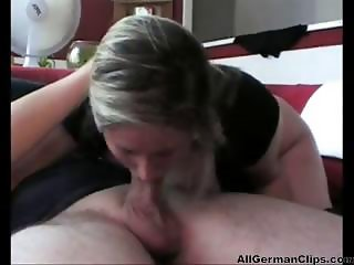 Busty German blonde gives him great head and gets drilled with creampie