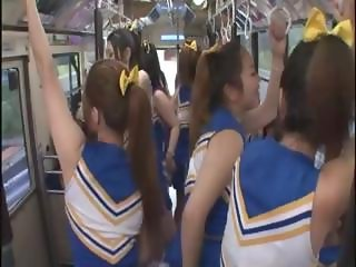 Horny Japanese cheerleaders in a hot group sex fuck for all