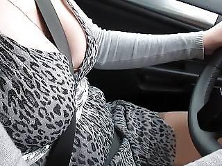 Driving car in stockings