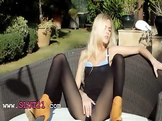 Incredible blonde in shoes strip