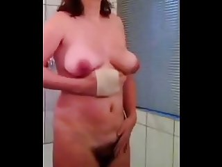 wife before shower, rub those tits and make then FLY....