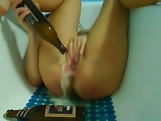 Piercing girl bottle pussy