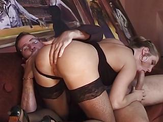 Sexy fishnet legs (anal)