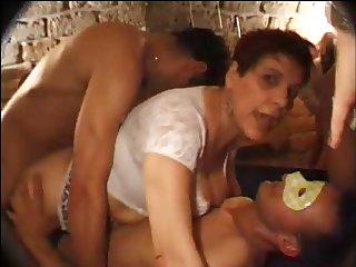 FRENCH MATURE n27 brunette anal mom gangbang in club