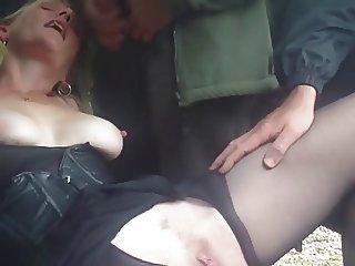 Blonde MILF in Car Group Suck