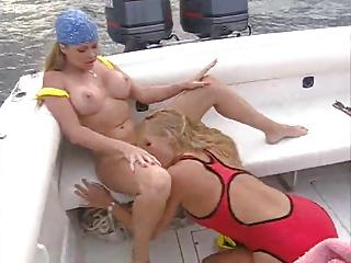 girls eating on the boat