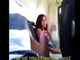 Girl at bus making me cum after flashing her