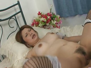 Busty and kinky Asian bimbo gagging and creamed