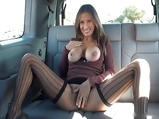 Wife Gives Handjob in Backseat