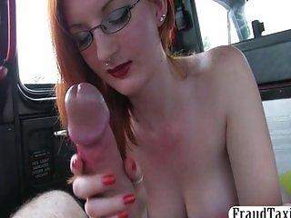 Big tits amateur redhead sex in a taxi