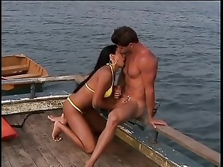 Sexy fit Latina takes hard cuck, cum on her tits at the dock