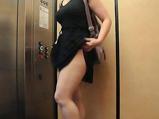 Flashing panties in public elevator