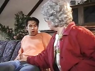 Amateurs granny and boy