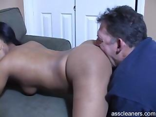 Ebony mistress demands old man to have her ass licked
