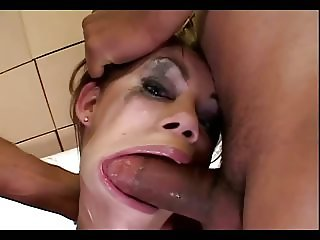 Gia takes a brutal facefuck from 2 guys