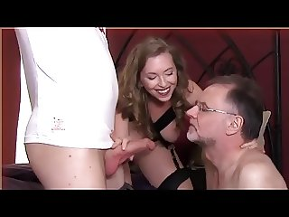 Husband takes orders from mistress and sucks cock