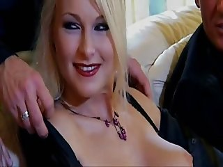 Blonde slut & three guys