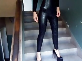 Black liquid catsuit & black heels