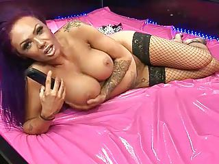 Camilla Jayne in fishnet stockings barefoot