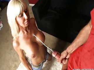 Busty lady gets cum splattered