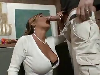 Busty Teacher Licks Cum Off Her Stocking