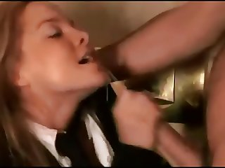 Beautiful redhead huge facial and smiles