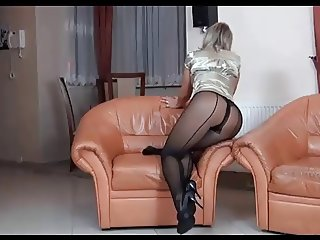 Milf ALA poses in brown pantyhose and heels