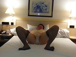 In girdles alone in a hotel