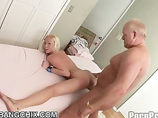 Blonde Teen Fucks And Sucks Old Cock