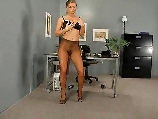 Splendid Pantyhose Modeling In The Office