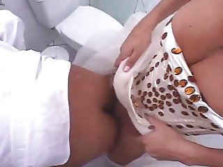 Shemale bride fucks her husband on a toilet