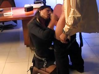 Sexy secretary sucks her boss  in the office