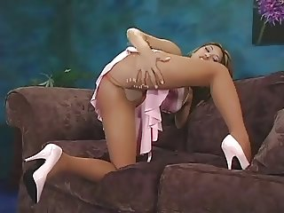 She Takes Off Her Pantyhose And Puts On A Crotchless Pair