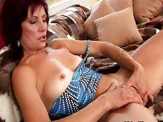 Mature with hard nipples finger fucks