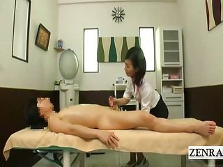 Subtitles CFNM Japan massage and handjob