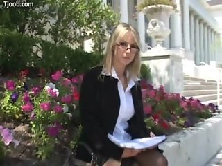 Caroline POV - busty blonde secretary with glasses